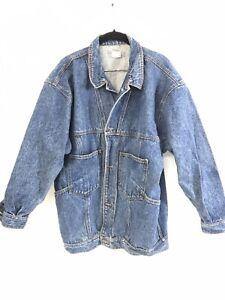 Vintage Men's Jordache Denim Jacket 1980s Size M Button Up Dark Wash  A15-16
