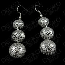 Silver Disc 3 Circle Coin Drop Earrings Ottoman Turkish Ethnic Tribal Gypsy Boho