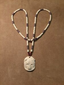 Bear Totem Necklace, Imitation Bone, Glass Wampum Style Necklace Longhunter...