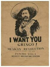 Pancho Villa POSTER **VERY LARGE** I Want You Gringo! Mexican Revolution! Mexico