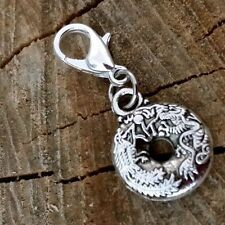 "3D Dragon Phoenix Love Mini Donut Silver Dangle Clip Charm pendant .5"" Feng Shui"