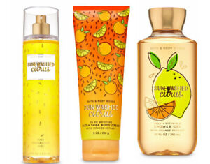 Bath and Body Works Sunwashed Citrus Trio Full Size Mist, Body Wash, Cream