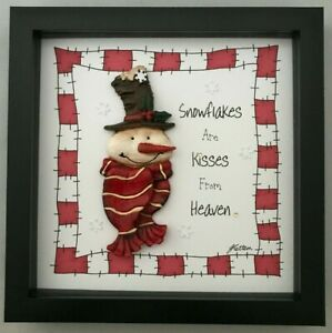 Christmas Gift 3D Picture Snowflakes Are Kisses From Heaven Snowman Red Border