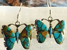 Inlaid Gorgeous Butterfly Earrings Sterling Silver Turquoise with matrix