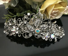 ANtique Silver Tone Rhinestone clear color metal Hair Clip Barrette 280117