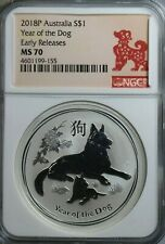 2018-P Australia Silver $1 Year of the Dog NGC MS-69 Early Releases Coin