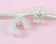 10pcs Silver /P Flower Clip Lock Stopper Beads Fit European Charm Bracelet K13