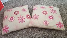 POTTERY BARN TEEN LOT OF 2 PINK FLORAL STICHED PILLOWS AND SHAMS