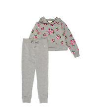 Guess Big Girls 2-Piece Cropped Hoodie & Lounge Pants Set Grey Size Tall 6 NWT