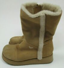 Roxy Chilly Light Tan Winter Leather Boots Moccasins Women's Size 8