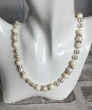 Silver Plated Necklace Made with Swarovski Crystal Pearls