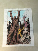 JUSTICE LEAGUE EUROPE #31 ORIGINAL ART color guide SPLASH, TURNED TO TREES FLASH