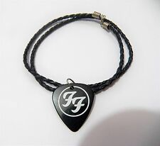 "FOO FIGHTERS FOOFIGHTERS guitar pick plectrum braided LEATHER NECKLACE 20"" black"