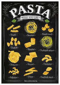 """Reproduction Vintage Italian """"Pasta"""" Poster, Home Wall Art, Size: A2"""