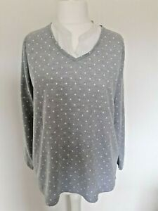 Bonmarch'e Woman's Grey And White Spotted Long Sleeved Top - Size 20 uk - Casual
