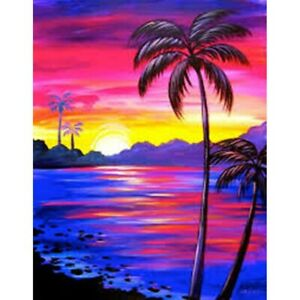 5D Full Drill Diamond Painting Embroidery Kits Decors Mural Sunset Coconut Tree