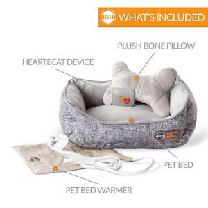 K&H PET PRODUCTS 100542405 Gray MOTHER'S HEARTBEAT HEATED PUPPY PET BED WITH ...
