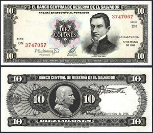 EL SALVADOR  P135* 10 COLONES* ND 17/03/1988* UNC GEM* USA SELLER