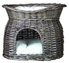 Trixie Weidenkorb mit Liegedach und 2 Kissen 54 × 43 × 37 cm, grau