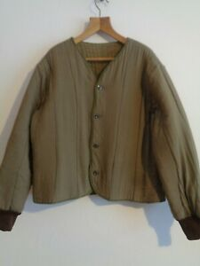 Vtg OD olive cotton army padded work chore quilted liner jacket