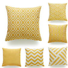 Decorative Pillow Case Mustard Yellow Geometric Fall Autumn Cushion Cover PYLE