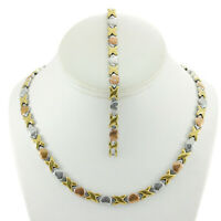 "Hugs And Kisses Womens Tri Color Stampato Necklace 18/20"" 7 STYLES Bracelet Set"