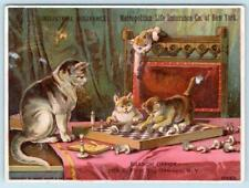 CATS PLAYING ON CHESS BOARD*METROPOLITAN LIFE INDUSTRIAL INSURANCE CO*OSWEGO NY