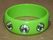 VTG Flourescent Green & Jeweled Rivoli Faceted Lucite Bangle Bracelet 8 X 1 1/8""