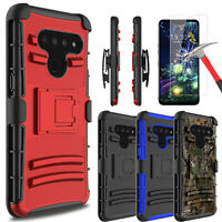 For LG V50 ThinQ 5G Case With Kickstand Holster Belt Clip Cover+Screen Protector