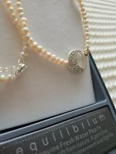 EQUILIBRIUM FRESH WATER PEARL NECKLACE silver plated half moon pendant