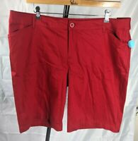 St Johns Bay Womens Bermuda Cargo Mid Rise Rumba Red Shorts NWTs