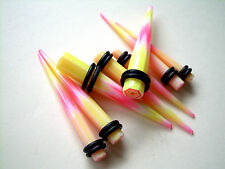 Pair 0g 8mm Pink Yellow White Geometric Ear Plug Tapers Stretcher Gauges MB ML38