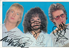 BARCLAY JAMES HARVEST HAND SIGNED BY ALL 3 EARLY PROMO PHOTOGRAPH