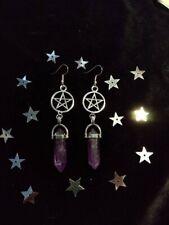 Pentagram Amethyst Gemstone Earrings Wicca Pagan Witch Goth Gothic Jewelry