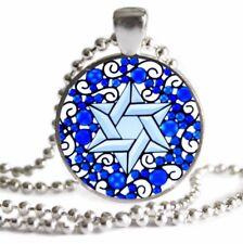 Hanukkah Chanukah GIFT Star of David NECKLACE Blue Mandala Pendant Jewish