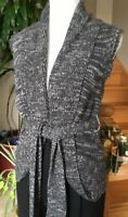 Forever XXI Black/GrayCable Knit Belted Sleeveless Sweater Cardigan Size S