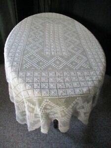 "Antique Buratto Embroidered net Italian Tablecloth-Cream-Lge-56""x72""-UNUSED"