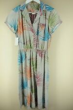 Vintage Women's Gray Colorful Palm Frond 80's Rayon Polyester Dress M/L