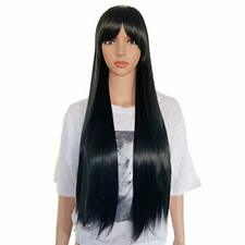 """Alice Long Black Wig With Fringe 26"""" Extra Long Straight Synthetic Cosplay Party"""