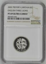 More details for 2002 great britain piedfort silver proof £1 english three lions pf69uc thick