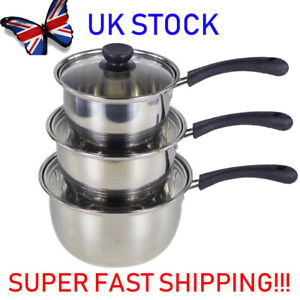 Set of 3 Deep Induction Saucepans/Cookware/Pan Pot Set with lids Stainless Steel