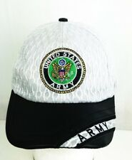 UNITED STATES ARMY LACE BASEBALL HAT CAP EMBROIDERED FAUX LEATHER BRIM STRAPBACK