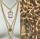 Heavy Watch chain Necklace Gold Brass lanyard vtg 16-31 Victorian repro