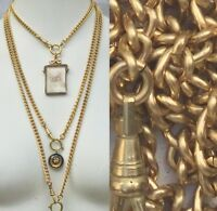 "Heavy Watch chain Necklace Gold Brass lanyard vtg 16-31"" Victorian repro"