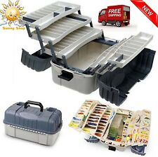 Fishing Tackle Box 7 Tray Hooks Lure Gear Storage Case Organizer Hip Roof New