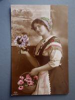 R&L Postcard: Edwardian Portrait of Pretty Young Woman, Traditional Dress Flower