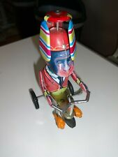 Vintage Key Wind Tin Monkey Toy on Bicycle Suit Propeller Hat