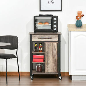 Kitchen Trolley Utility Cart on Wheels with Storage Shelves & Drawer Dining Room