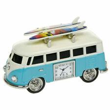 "Blue VW Type Surf Retro Camper Van Miniature 10cm 4"" Clock Christmas Gift"