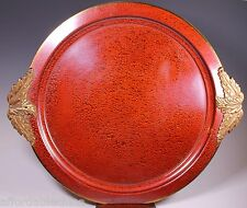 Mid Century Enameled Sparkly Red Handled Tray Signed L. F. Grammes Metalwork Pa